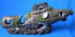 Large Aquarium Fish Tank Ornament Submarine Wreck 18 5