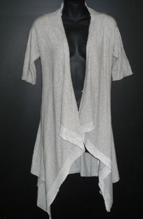 Laurie B Gray Long Asymmetrical Cardigan Sweater Jacket New M 8 10