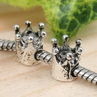 5pc Tibetan Silver Crown Large Hole Bead Fit Charms