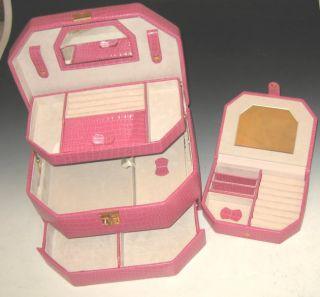 New Pink Fuchsia Leather Large Jewelry Box w Travel Case