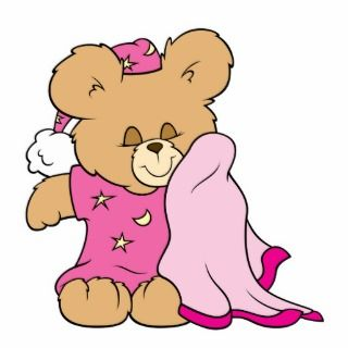 sleepy night night girl teddy bear design acrylic cut outs
