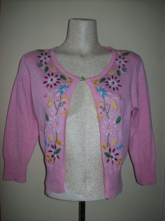 Laurie B Anthropologie Pink Embroidered Floral Beaded Sweater Cardigan