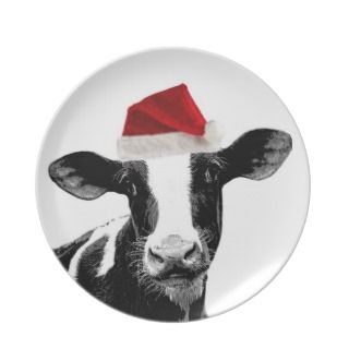 Santa Cow  Holstein Dairy Christmas Cow Plates