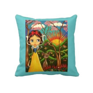Big Eye Snow White Doll and the Animals Throw Pillow
