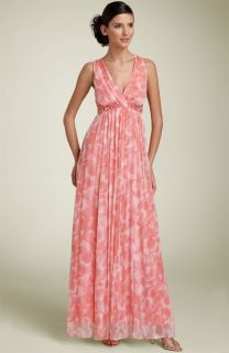 Laundry by Shelli Segal Silk Chiffon Gown with Beaded Waist
