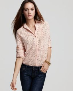 Sam Lavi New Hondo Pink Eyelet Long Sleeve Button Down Top Shirt s