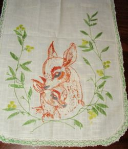 Vintage Precious Doe Fawn Hand Embroidered Crochet Table Runner