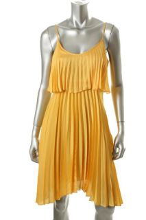 Laundry by Shelli Segal New Yellow Pleated Satin Layered Casual Dress