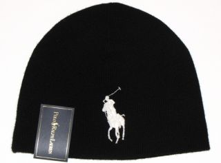 Polo Ralph Lauren Mens Knit Hat Beanie Black 100 Merino Wool Big Pony