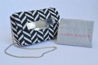 Lauren Merkin Black White Woven Chevron Print Clutch Bag Handbag Purse