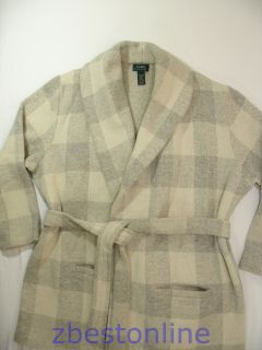 385 Lauren Ralph Lauren LRL Cream Plaid Wool Coat Jacket Women Plus
