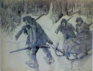 Leal Mack Original Pencil Drawing Hunters Sled