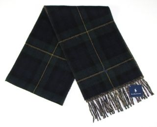 Polo Ralph Lauren Mens Scarf Lambswool Green Blue Plaid Pony New