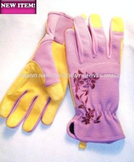 ERGONOMIC WASHABLE Purple Stretch Syn Leather GRIP Garden Gloves S M L