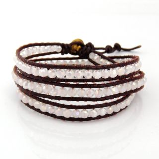 Brown Leather White Gloss Crystal Triple Wrap Bracelet