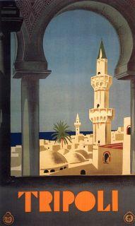 Tripoli LIBYA Lebanon Arabic Arab Tourism Travel Vintage Poster Repro