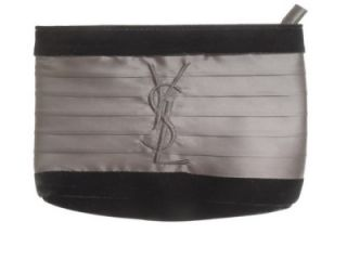 YSL Yves Saint Laurent Black Velvet Satin Clutch Purse