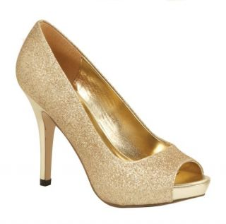 Lava Womens Mylie Gold Glitter Open Toe 3 1 2 High Heel Pump Shoes