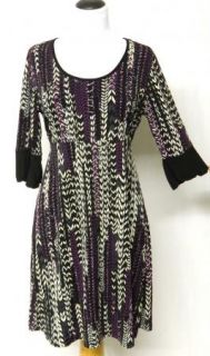 Susan Lawrence Size M Empire Purple Black Gray Slinky Stretch Knit