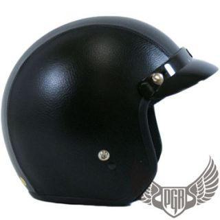 Black Leather Motorcycle Scooter 3 4 Open Face Vintage Style Dot