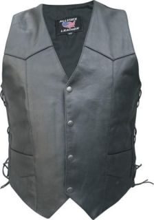 Mens Tall Black Buffalo Leather Motorcycle Vest Laces