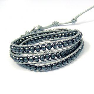 Midnight Charm Hematite Beads Silver Leather Bracelet