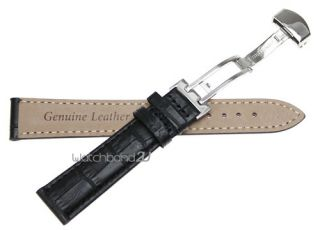 Grain Leather Butterfly Deployment Clasp Watch Band Strap Black