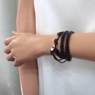 Black Muse Crystal Trendy Triple Wrap Leather Bracelet