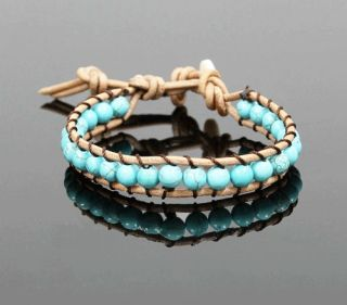 Turquoise Bead Suede Leather Wrap Friendship Bracelet