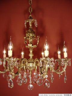 8LT Solid Charming Crystal Glass Chandelier Cherubs Brass Old Antique