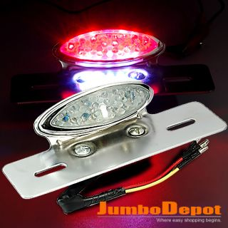 Motorcycle Rear Tail Brake Light Silver Chrome License Plate LED New