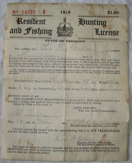 Hunting&Fishing License Vtg Old Lee H Giles Windham Vermont Resident