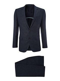 Hugo Boss Linen stripe single breasted suit Blue