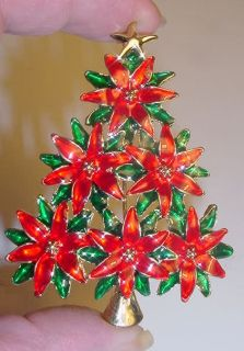 Stunning Huge Colorful Enamel Poinsettia Christmas Tree Pin Brooch New