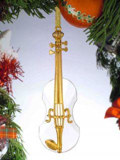 Nice Miniature Crystal Violin Christmas Tree Ornament New Box