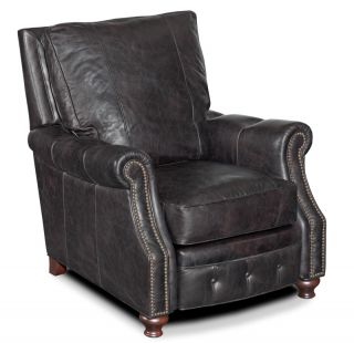 Gray Leather Recliner Arm Chair