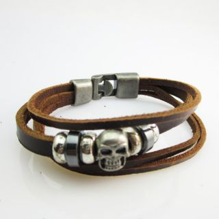 Skull Cool Men Hand Woven Leather Bracelet Circle Fashion Jewelry Punk