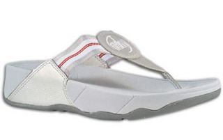 FitFlop Walkstar White Silver Red Workout Flip Flops 9