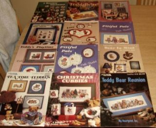 Lot 12 Leisure Arts Burdett Cross Stitch Pattern Books Bears Teddy