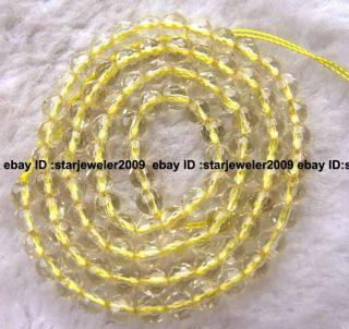 4mm Natural Lemon Quartz Round Faceted Beads 15 5