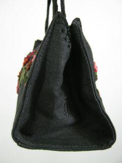 Tote Le Monde Black Linen Floral Mini Baguette Handbag