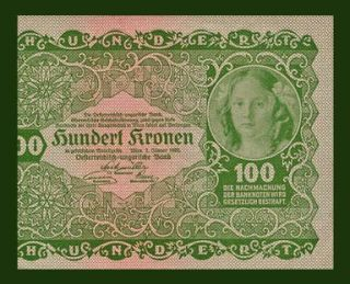 100 Kronen Banknote of Austria 1922 Young Girl UNC