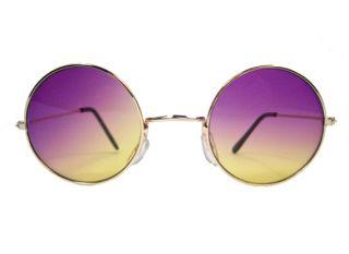 Round John Glasses Hippie Sunglasses Vampire Purple