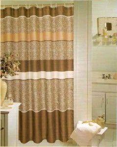 NIP Leopard Print Fabric Shower Curtain