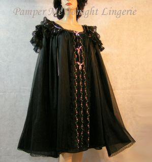Exquisite Vintage 50s Kayser Blk Chiffon Nightgown Gown Peignoir Robe