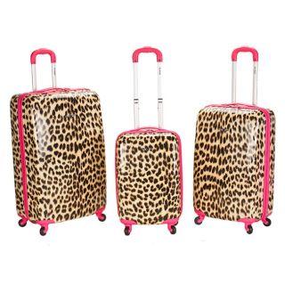 Designer 3 Pc Lightweight Hardside Spinner Luggage Set   Pink Leopard