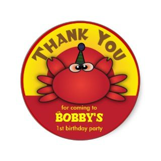 Kids Birthday Thank You Sticker: Cute Crab