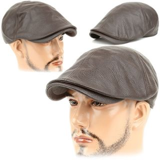 Beret Gatsby Cabbie Flat Cap Hat Lew Brown Wood Leather Style