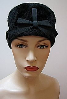 Vintage Ladies Hat Black Plush Monterey Italy 523