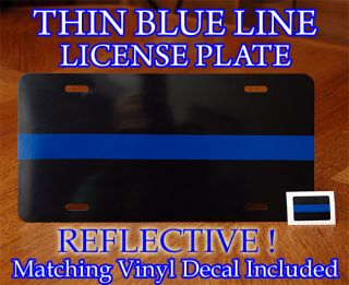 Thin Blue Line License Plate Decal Police Sheriff FOP